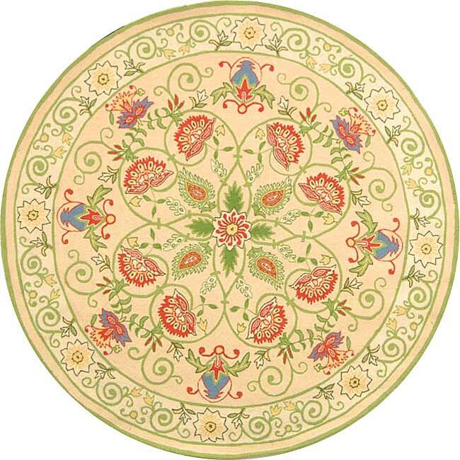 Safavieh Hand Hooked Bedford Beige Green Wool Rug 5 6