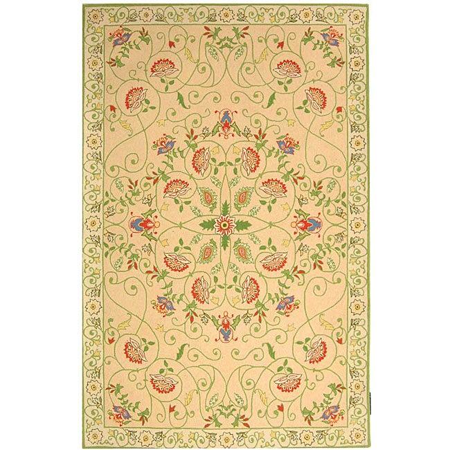 Safavieh Hand-hooked Bedford Beige/ Green Wool Rug - 8'9 X 11'9