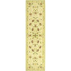 "Safavieh Hand-hooked Bedford Ivory/ Green Wool Runner Rug - 2'6"" x 10' - Thumbnail 0"