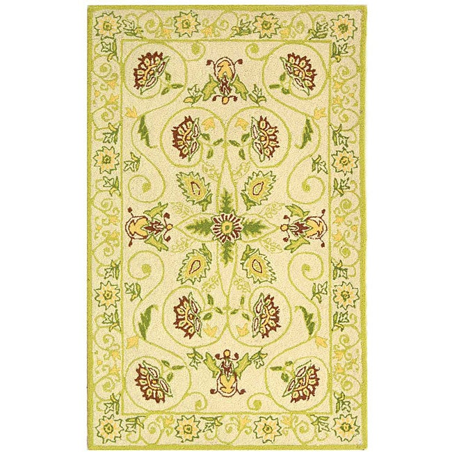 Safavieh Hand-hooked Bedford Ivory/ Green Wool Runner (2'6 x 4')