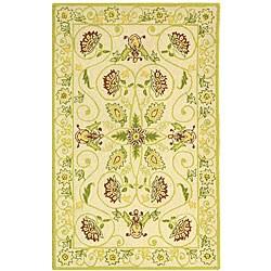 Safavieh Hand-hooked Bedford Ivory/ Green Wool Runner (2'6 x 4')