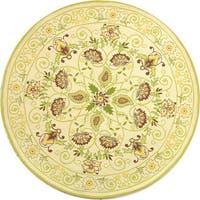 Safavieh Hand-hooked Bedford Ivory/ Green Wool Rug - 4' x 4' Round