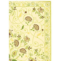 Safavieh Hand-hooked Bedford Ivory/ Green Wool Rug (5'3 x 8'3)