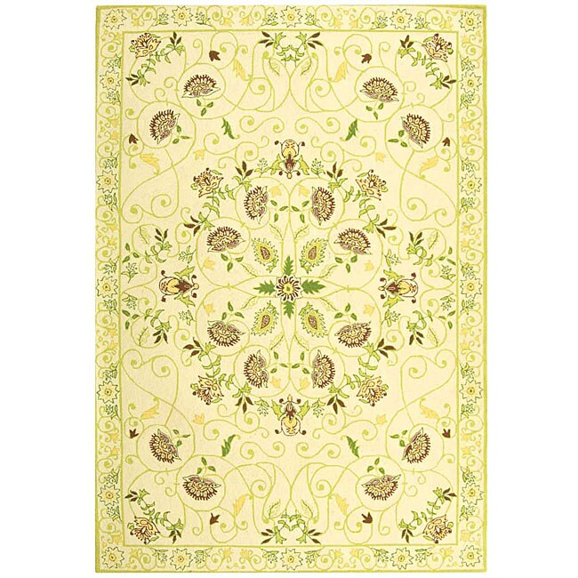 Safavieh Hand-hooked Bedford Ivory/ Green Wool Rug (6' x 9')