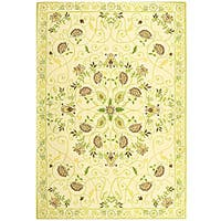 Safavieh Hand-hooked Bedford Ivory/ Green Wool Rug - 6' x 9'