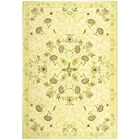 Safavieh Hand-hooked Bedford Ivory/ Green Wool Rug - 6' x 9'