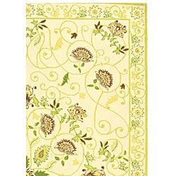 Safavieh Hand-hooked Bedford Ivory/ Green Wool Rug (7'9 x 9'9) - Thumbnail 2