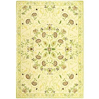 Safavieh Hand-hooked Bedford Ivory/ Green Wool Rug - 7'9 x 9'9