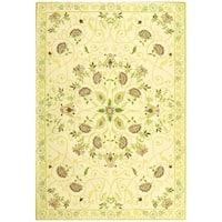 "Safavieh Hand-hooked Bedford Ivory/ Green Wool Rug - 7'-9"" x 9'-9"""