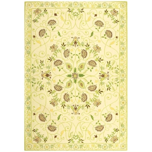 "Safavieh Hand-hooked Bedford Ivory/ Green Wool Rug - 7'9"" x 9'9"""