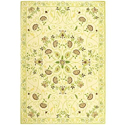 Safavieh Hand-hooked Bedford Ivory/ Green Wool Rug (8'9 x 11'9)