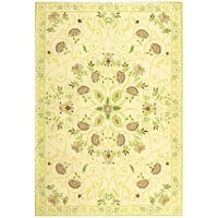 "Safavieh Hand-hooked Bedford Ivory/ Green Wool Rug - 8'9"" x 11'9"""