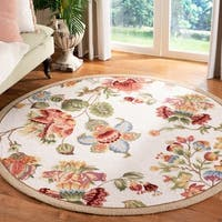 Safavieh Hand-hooked Transitional Ivory Wool Rug - 3' x 3' round
