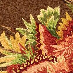 Safavieh Hand-hooked Transitional Brown Wool Rug (3' Round) - Thumbnail 1