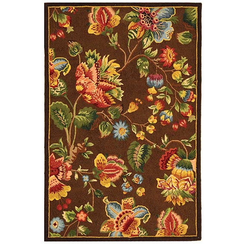"""Safavieh Hand-hooked Transitional Brown Wool Rug - 3'9"""" x 5'9"""""""