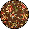 Safavieh Hand-hooked Transitional Brown Wool Rug (4' Round)