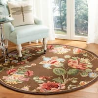 Safavieh Hand-hooked Transitional Brown Wool Rug - 8' x 8' Round