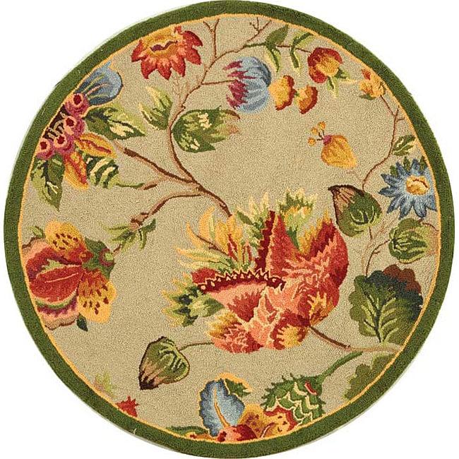 Safavieh Hand-hooked Transitional Sage Wool Rug (3' Round)