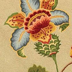 Safavieh Hand-hooked Transitional Sage Wool Rug (8' Round) - Thumbnail 1