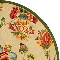 Safavieh Hand-hooked Transitional Sage Wool Rug (8' Round) - Thumbnail 2