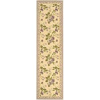 """Safavieh Hand-hooked Transitional Ivory/ Violet Wool Runner - 2'-6"""" x 10'"""