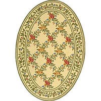 "Safavieh Hand-hooked Garden Trellis Ivory Wool Rug - 4'6"" x 6'6"" oval"