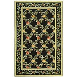Safavieh Hand-hooked Garden Trellis Black Wool Rug (3'9 x 5'9)