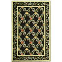 Safavieh Hand-hooked Garden Trellis Black Wool Rug - 3'9 x 5'9