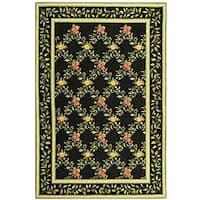 Safavieh Hand-hooked Garden Trellis Black Wool Rug - 6' x 9'