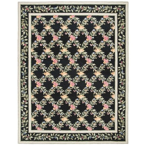 "Safavieh Hand-hooked Garden Trellis Black Wool Rug - 8'-9"" x 11'-9"""