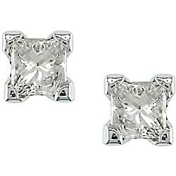 Miadora 14k Gold 1/4ct TDW Princess-cut Diamond Stud Earrings