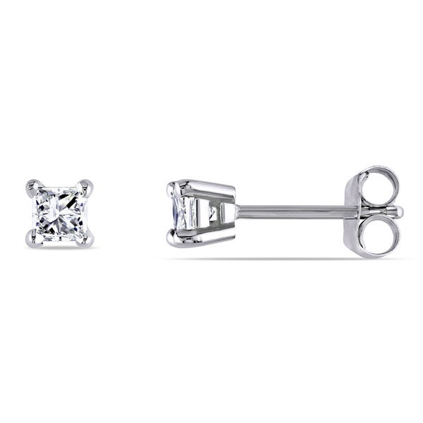 Miadora 14k Gold 1/3ct TDW Princess-cut Diamond Studs