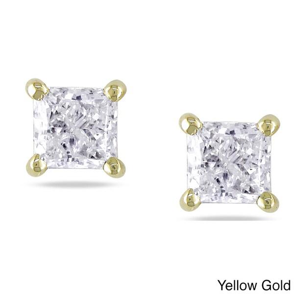 Miadora 14k Gold 3/4 to 2ct TDW Princess-cut Diamond Stud Earrings