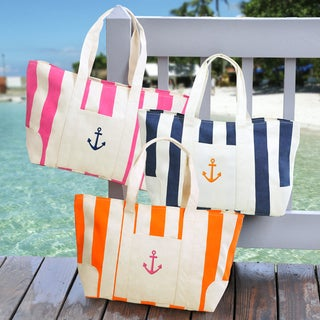 Striped Canvas Tote Bag with Exterior Pocket and Shoulder Straps