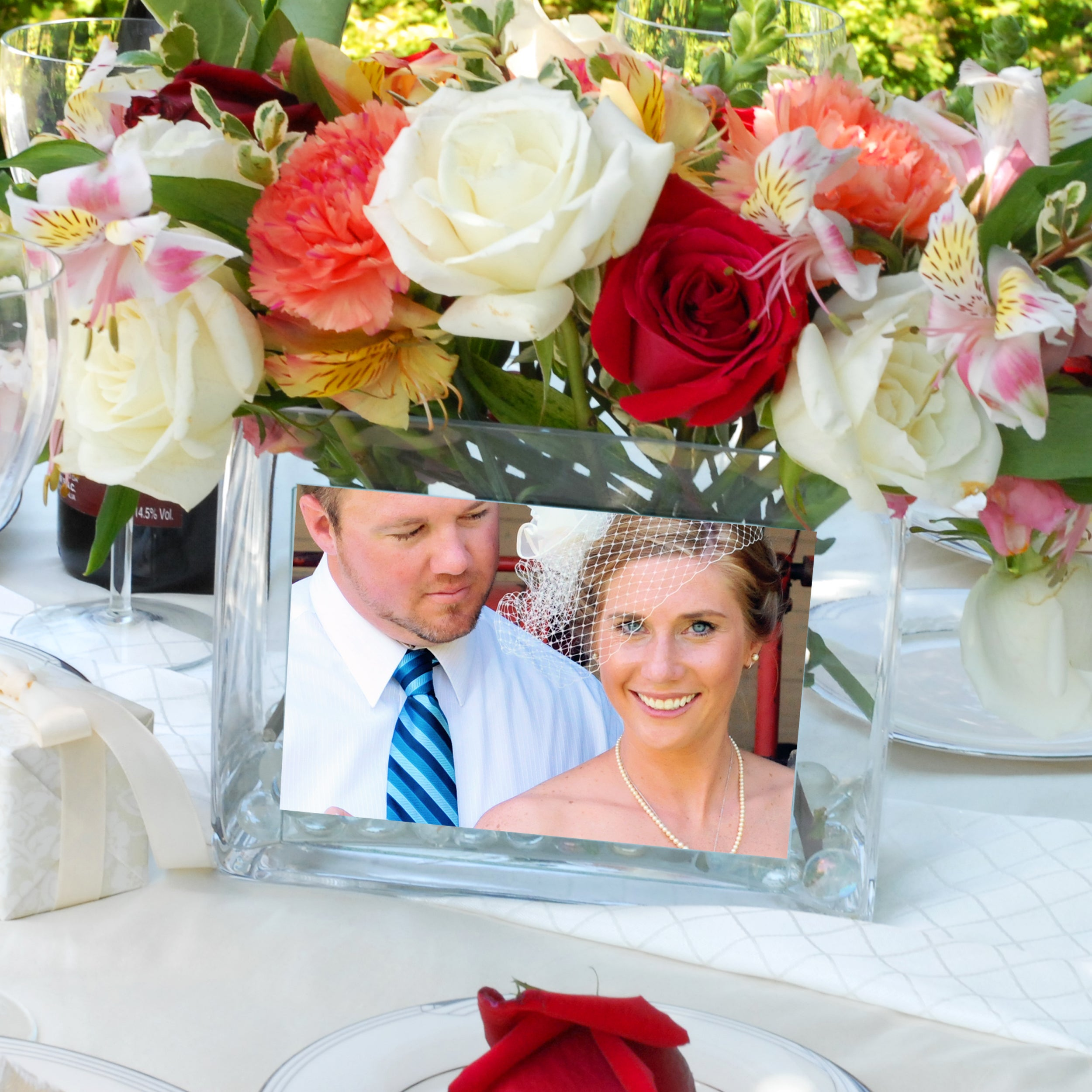 Cathy's Concepts Glass Photo Vase (Personalized Glass Pho...