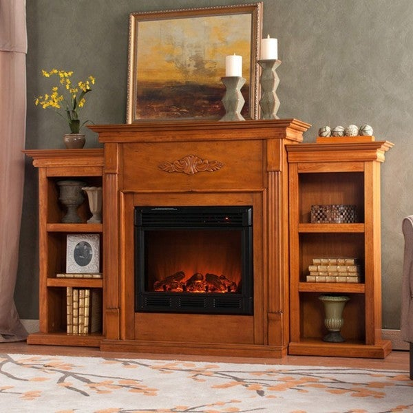 peyton oak electric fireplace with bookcase free