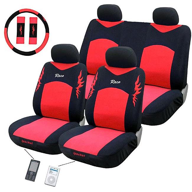 Race Red 11-piece Automotive Seat Cover Set
