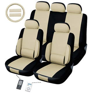 Lumbar Tan 12 Piece Universal Fit Seat Cover Set Airbag Friendly