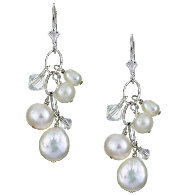 Charming Life Sterling Silver White FW Coin Pearl and Crystal Earrings (5.5-8.5 mm)