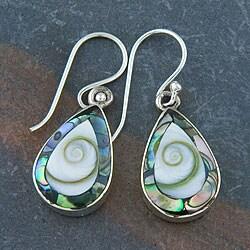 Handmade Abalone and Shiva Shells Silver Earrings (Indonesia)