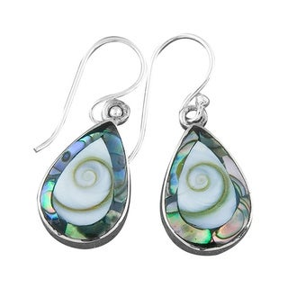 Handmade Abalone and Shiva Shell Silver Teardrop Earrings (Indonesia)