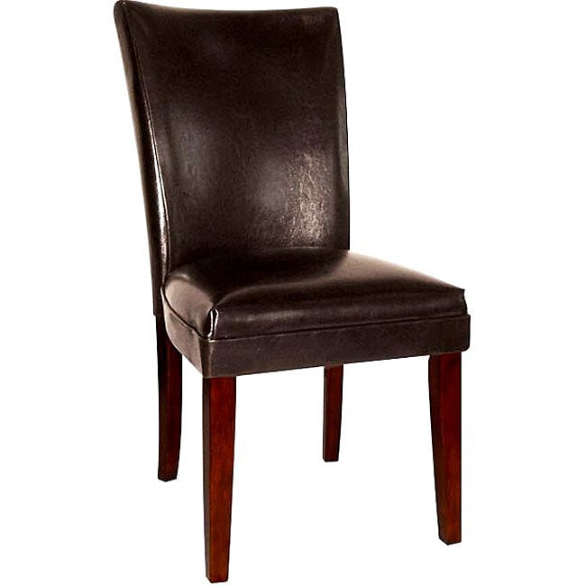 Empire black bicast leather parson chairs set of 2 for Black leather parsons chairs