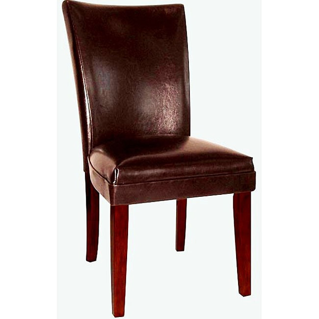 Empire brown bicast leather parson chairs set of 2 for Black leather parsons chairs