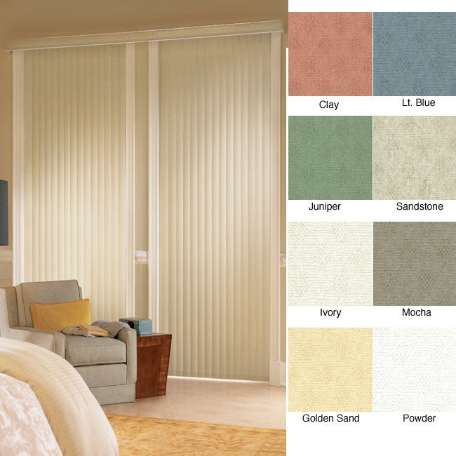 "Vertical Blinds - Havana 3 1/2"" Textured Vinyl (44 Inches Wide x 5 Custom Lengths) with Valance"