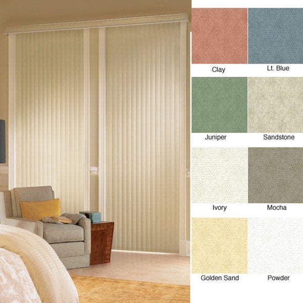 "Vertical Blinds - Havana 3 1/2"" Textured Vinyl (54 Inches Wide x 5 Custom Lengths) with Valance - Ma"