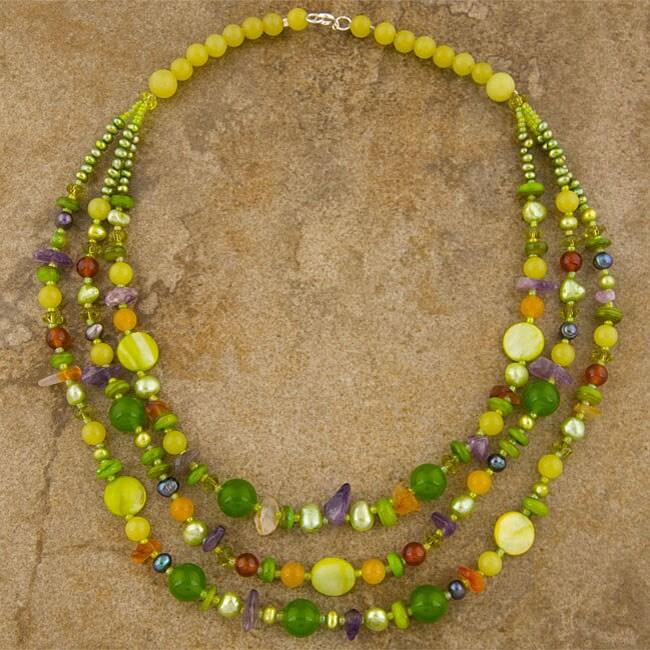 Triple-strand Semi-precious Necklace (Thailand)
