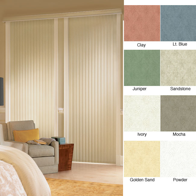 "Vertical Blinds - Havana 3 1/2"" Textured Vinyl (90 Inches Wide x 5 Custom Lengths) with Valance"