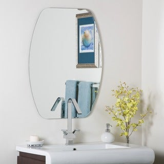 Frameless Oval Beveled-Groove Mirror - Silver - A/N