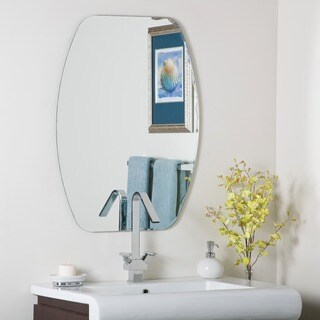 Frameless Oval Beveled-Groove Mirror