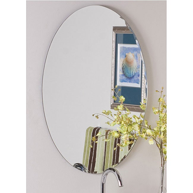 Frameless oval scallop beveled mirror free shipping for Frameless beveled mirror